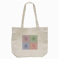 Seamless Kaleidoscope Patterns In Different Colors Based On Real Knitting Pattern Tote Bag (cream)