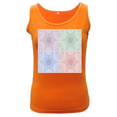 Seamless Kaleidoscope Patterns In Different Colors Based On Real Knitting Pattern Women s Dark Tank Top