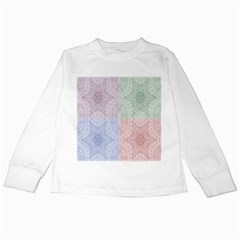Seamless Kaleidoscope Patterns In Different Colors Based On Real Knitting Pattern Kids Long Sleeve T Shirts