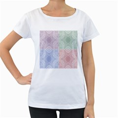 Seamless Kaleidoscope Patterns In Different Colors Based On Real Knitting Pattern Women s Loose-Fit T-Shirt (White)