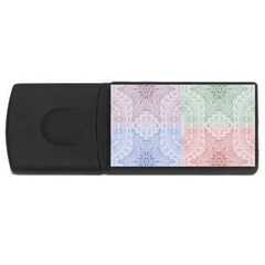 Seamless Kaleidoscope Patterns In Different Colors Based On Real Knitting Pattern Usb Flash Drive Rectangular (4 Gb)