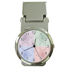 Seamless Kaleidoscope Patterns In Different Colors Based On Real Knitting Pattern Money Clip Watches