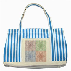 Seamless Kaleidoscope Patterns In Different Colors Based On Real Knitting Pattern Striped Blue Tote Bag