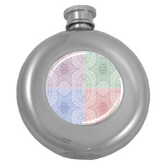 Seamless Kaleidoscope Patterns In Different Colors Based On Real Knitting Pattern Round Hip Flask (5 oz)