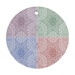 Seamless Kaleidoscope Patterns In Different Colors Based On Real Knitting Pattern Round Ornament (Two Sides)