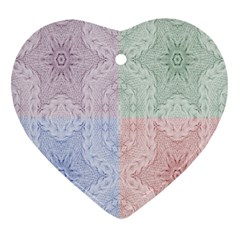 Seamless Kaleidoscope Patterns In Different Colors Based On Real Knitting Pattern Heart Ornament (Two Sides)