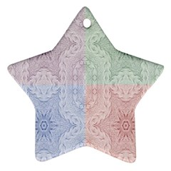 Seamless Kaleidoscope Patterns In Different Colors Based On Real Knitting Pattern Star Ornament (Two Sides)