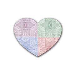 Seamless Kaleidoscope Patterns In Different Colors Based On Real Knitting Pattern Rubber Coaster (heart)