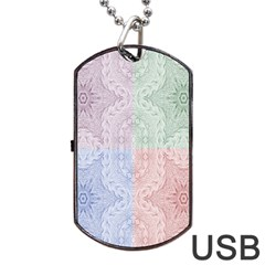 Seamless Kaleidoscope Patterns In Different Colors Based On Real Knitting Pattern Dog Tag USB Flash (One Side)