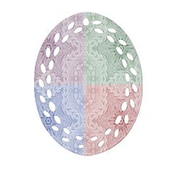 Seamless Kaleidoscope Patterns In Different Colors Based On Real Knitting Pattern Oval Filigree Ornament (two Sides)