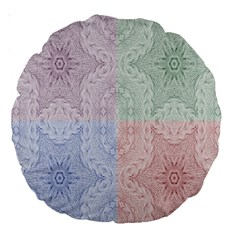 Seamless Kaleidoscope Patterns In Different Colors Based On Real Knitting Pattern Large 18  Premium Round Cushions