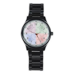 Seamless Kaleidoscope Patterns In Different Colors Based On Real Knitting Pattern Stainless Steel Round Watch