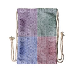 Seamless Kaleidoscope Patterns In Different Colors Based On Real Knitting Pattern Drawstring Bag (small)