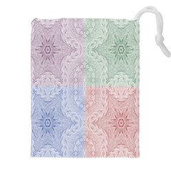 Seamless Kaleidoscope Patterns In Different Colors Based On Real Knitting Pattern Drawstring Pouches (XXL)