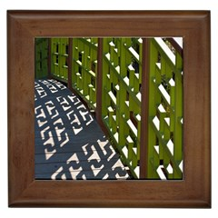 Shadow Reflections Casting From Japanese Garden Fence Framed Tiles