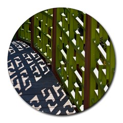 Shadow Reflections Casting From Japanese Garden Fence Round Mousepads