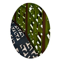 Shadow Reflections Casting From Japanese Garden Fence Ornament (oval)