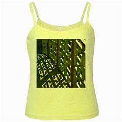 Shadow Reflections Casting From Japanese Garden Fence Yellow Spaghetti Tank