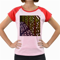 Shadow Reflections Casting From Japanese Garden Fence Women s Cap Sleeve T-Shirt