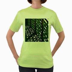 Shadow Reflections Casting From Japanese Garden Fence Women s Green T-Shirt