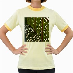 Shadow Reflections Casting From Japanese Garden Fence Women s Fitted Ringer T Shirts
