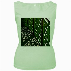 Shadow Reflections Casting From Japanese Garden Fence Women s Green Tank Top