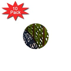 Shadow Reflections Casting From Japanese Garden Fence 1  Mini Magnet (10 Pack)