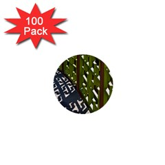 Shadow Reflections Casting From Japanese Garden Fence 1  Mini Buttons (100 pack)