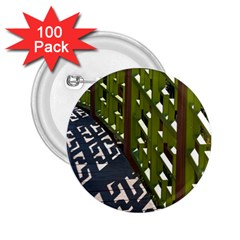 Shadow Reflections Casting From Japanese Garden Fence 2 25  Buttons (100 Pack)