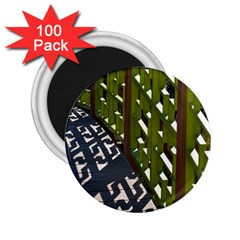 Shadow Reflections Casting From Japanese Garden Fence 2 25  Magnets (100 Pack)