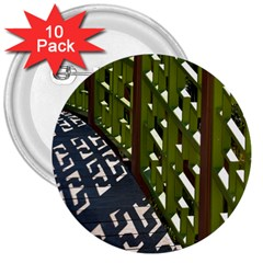 Shadow Reflections Casting From Japanese Garden Fence 3  Buttons (10 Pack)
