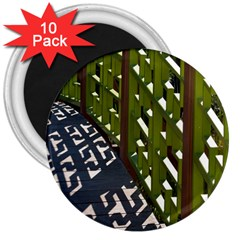 Shadow Reflections Casting From Japanese Garden Fence 3  Magnets (10 Pack)