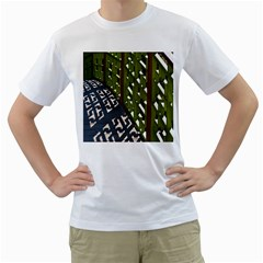 Shadow Reflections Casting From Japanese Garden Fence Men s T-Shirt (White) (Two Sided)