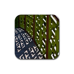 Shadow Reflections Casting From Japanese Garden Fence Rubber Coaster (Square)