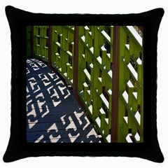 Shadow Reflections Casting From Japanese Garden Fence Throw Pillow Case (Black)