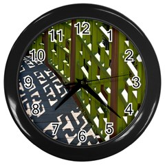 Shadow Reflections Casting From Japanese Garden Fence Wall Clocks (Black)