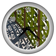 Shadow Reflections Casting From Japanese Garden Fence Wall Clocks (Silver)