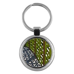 Shadow Reflections Casting From Japanese Garden Fence Key Chains (Round)