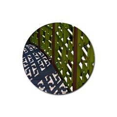 Shadow Reflections Casting From Japanese Garden Fence Rubber Coaster (round)