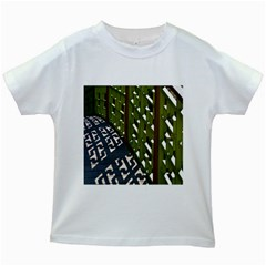 Shadow Reflections Casting From Japanese Garden Fence Kids White T Shirts