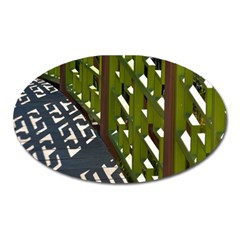 Shadow Reflections Casting From Japanese Garden Fence Oval Magnet
