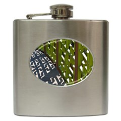 Shadow Reflections Casting From Japanese Garden Fence Hip Flask (6 Oz)