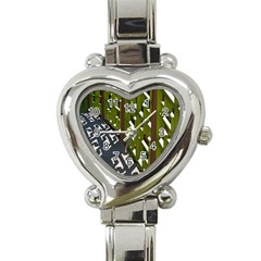 Shadow Reflections Casting From Japanese Garden Fence Heart Italian Charm Watch