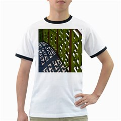 Shadow Reflections Casting From Japanese Garden Fence Ringer T-Shirts