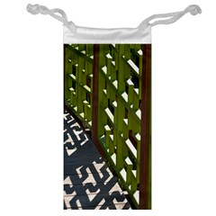 Shadow Reflections Casting From Japanese Garden Fence Jewelry Bag