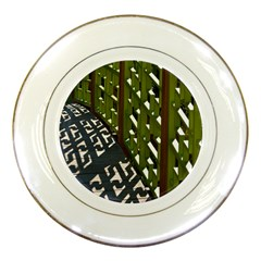Shadow Reflections Casting From Japanese Garden Fence Porcelain Plates