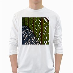 Shadow Reflections Casting From Japanese Garden Fence White Long Sleeve T Shirts