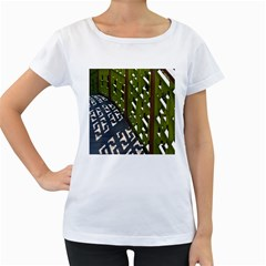 Shadow Reflections Casting From Japanese Garden Fence Women s Loose Fit T Shirt (white)
