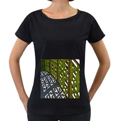 Shadow Reflections Casting From Japanese Garden Fence Women s Loose Fit T Shirt (black)