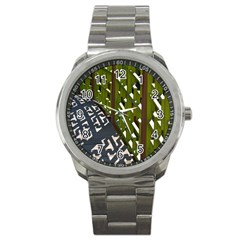 Shadow Reflections Casting From Japanese Garden Fence Sport Metal Watch